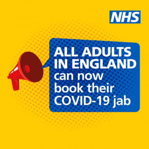 All patients aged 18 and over are now eligible for their Covid Vaccination
